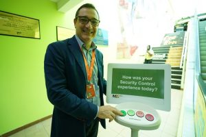 MBJ Airports CEO Rafael Echevarne tests out a Happy or Not terminal post security at Sangster International Airport