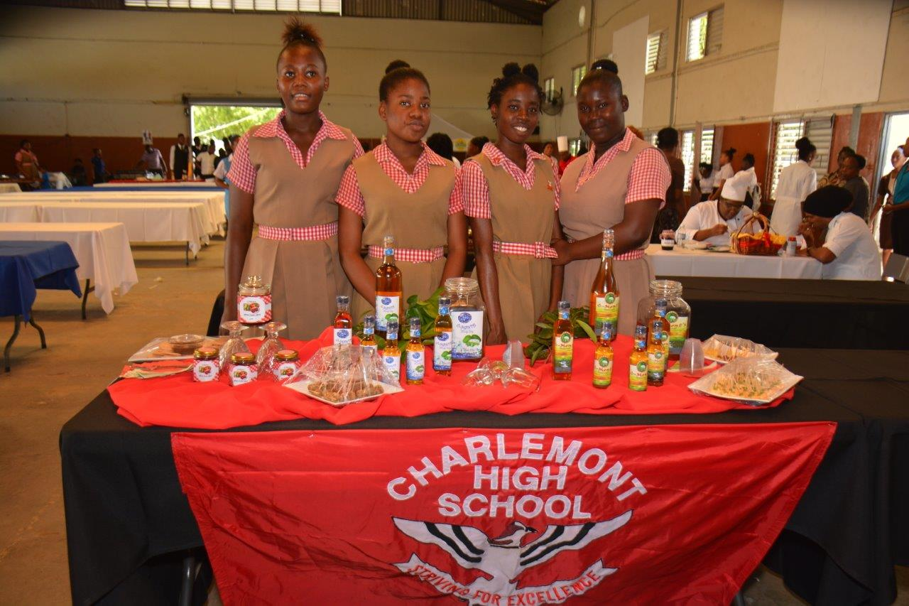 Charlemont High School students display their wines and preserves entries at the 2017 Eastern Regional Culinary Championship.
