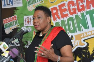 Hon. Olivia Grange, Minister of Culture Gender Entertainment and Sport gives remarks at the Reggae Month 2019 Launch at the Ribbiz Ocean Lounge, Victoria Pier, Kingston
