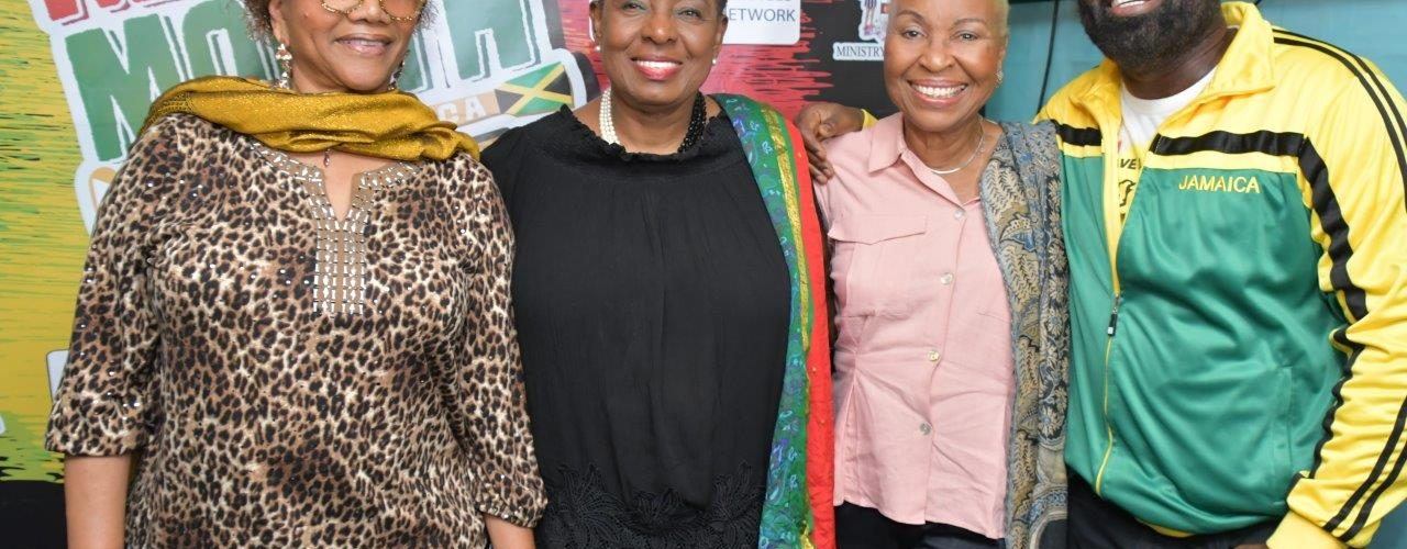 Minister of Culture Gender Entertainment and Sport, Hon. Olivia Grange (Second left) shares lens and smiles with Reggae gem, Marcia Griffiths (left), Executive Member, Jamaica Federation of Musicians & Affiliates Union, Dr. Myrna Hague (second right) and Reggae recording artist Richie Stephens at the Reggae Month 2019 Launch at the Ribbiz Ocean Lounge, Victoria Pier, Kingston.