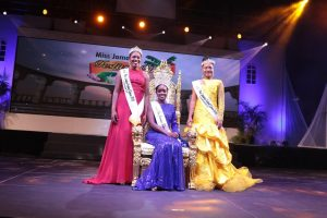 Miss Jamaica Festival Queen 2019, Khamara Wright is flanked by her first runner up, AnnaKay Hudson, Miss Kingston and St. Andrew (left)  and second runner up Chardonnae Parkins, Miss St. James at the Grand Coronation of the Miss Jamaica Festival Queen Competition 2019.