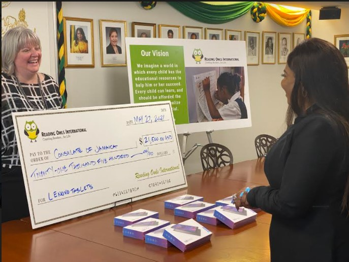 Handover CeremonyDonation to Jamaica Consulate in NY by Reading Owls International1